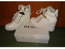 Sneakers/ Adidas Gheata cu platforme DESUN , albi cu inserti