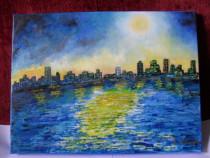 Noapte albastra-pictura ulei pe panza