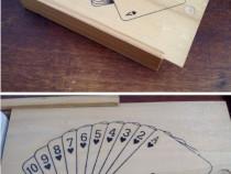 Cutie veche lemn pentru cărți de joc