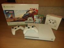 Consolă Xbox one S 4K 1TB, 2 controllere, GTA V + Fortza Hor