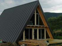 Case cabane lemn forma literei A modulare