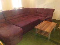 Canapea extensibilă cu lada de depozitare + masa