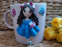 Cadou pentru fetite, sotie/iubita cana papusa handmade