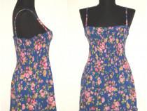 Rochie maxi, din vascoza fina, cu print floral colorat