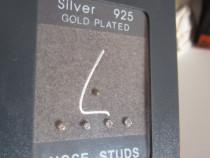 Argint 925,placate cu aur -stud/ cercel/accesorii de nas-cad