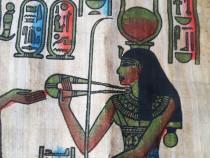 Papirus egiptean cu zeita Hathor