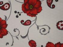 Lenjerie de pat din 4 piese XXL 100% bumbac - Flori Rosii