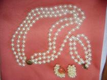 Set perle, colier, bratara si cercei