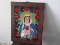 Icoană veche pictura pe sticla maramureș dimensiuni 47×35p