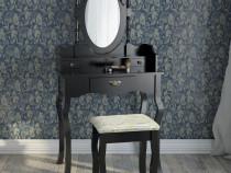 SEN10 - Masuta Neagra toaleta, Scaun, oglinda machiaj cosmet