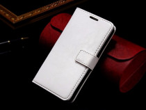 Husa / toc slim piele fina LG G2, tip flip portofel, alb
