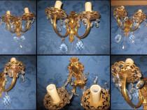 Aplice electrice pereche bronz aurit anii 1900 sticle