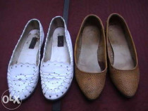 Pantofi din piele naturala impletiti
