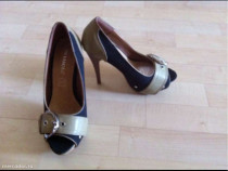 Pantofi negru cu bej, 36, noi, comozi - toc 12 cm.