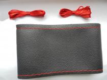 Husa din piele neagra(cusatura rosie) pentru volan auto-L3