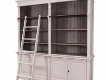 Biblioteca lemn cu scara-Transport gratuit