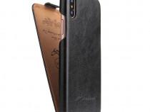 Husa piele fina iPHONE X flip cover clapeta negru,maro, rosu