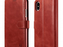 Husa piele 2in1 icarer iphone x tip carte + back cover,rosu