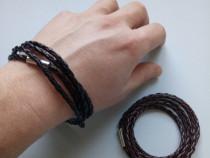 Bratara din piele impletita cu inchidere inox neagra / maro