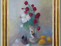 Natura statica cu flori si gutui