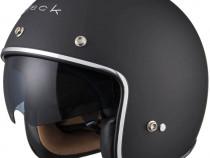 Casca moto open face - ochelari soare- negru mat - Black