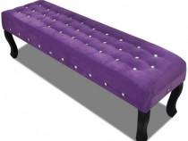 Bancă Violet Catifea cu Nasturi de Cristal (241262)