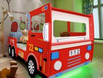 Pat pentru copii, model mașină pompieri LED, (243935)