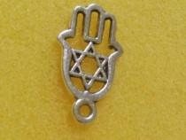 Charm auriu, mana lui Fatima - steaua lui David, 12.5mm*21mm