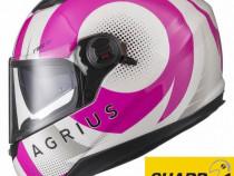 Casca Moto cu ochelari soare, 4* Sharp, Agrius Warp Roz XS-S