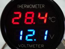Voltmetru-Termometru Digital AUTO 12V Dual display