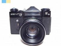 Zenit E cu obiectiv Helios-44-2 58mm f/2 montura M42 in etui