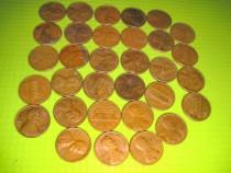 Set 31 buc. 1 Cent USA-1960-1970-bronz- stare buna.