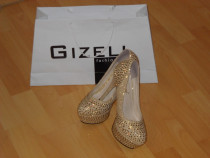 Pantofi aurii/gizell fashion /noi/curie/nr 37