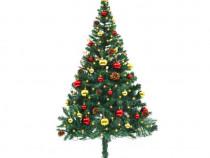 Brad de Crăciun artificial cu globuri și LED-uri(246392)