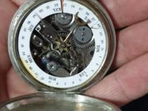 Deosebit ceas de buzunar cu calendar din argint raritate