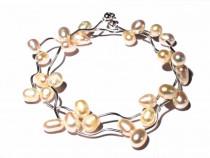 Colier si cercei din Argint 925 si Perle de cultura albe