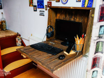 Birou pliabil tip iii handmade montat pe perete rustic lemn