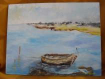 Pe malul marii 1-pictura ulei pe placaj;