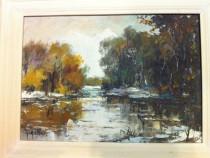 2 picturi, pe panza, peisaje din Delta Dunarii