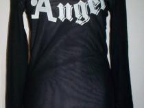 Bluza simpatica din voal fin plasa neagra si roz Angel, deco