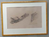 Tablou case din lemn in creion
