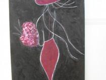 Fata cu flori-pictura ulei pe placaj