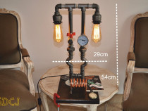 Lampa telefon suport lemn steampunkdesigncj, lampa steampunk