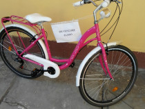 "Bicicleta Dama Neuzer Ravena 6 Plus -28"" Magenta/Alb"