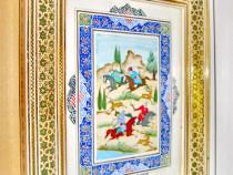 A418-Tablou Calareti arabi la vanatoare pictura pe carton.