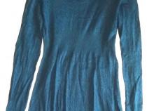 Bluzita lunga H&M stil rochita turcoaz inchis cu guler mare