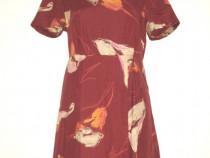 Rochie vintage maxi, din in, cu imprimeu floral colorat