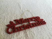 Ornament brad Craciun Merry Christmas sclipici rosu Ambalat
