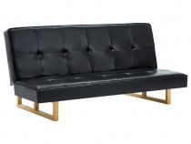 Canapea extensibilă, piele artificială, negru (247026)