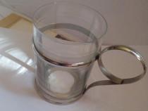 Pahar vechi sticlă decorata, in suport metalic